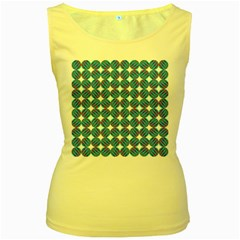 Geometric Dots Pattern Rainbow Women s Yellow Tank Top