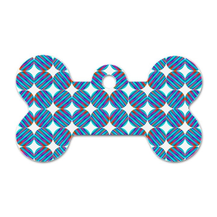 Geometric Dots Pattern Rainbow Dog Tag Bone (Two Sides)