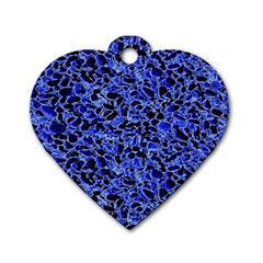 Texture Structure Electric Blue Dog Tag Heart (two Sides)