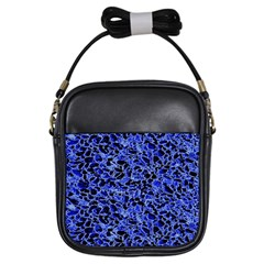 Texture Structure Electric Blue Girls Sling Bags