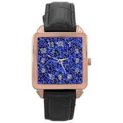 Texture Structure Electric Blue Rose Gold Leather Watch