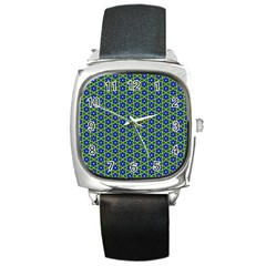Texture Background Pattern Square Metal Watch