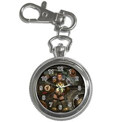 Steampunk, Steampunk Women With Clocks And Gears Key Chain Watches