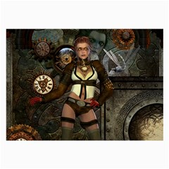 Steampunk, Steampunk Women With Clocks And Gears Large Glasses Cloth (2 Side)