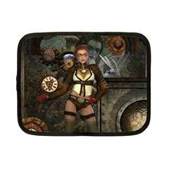 Steampunk, Steampunk Women With Clocks And Gears Netbook Case (small)