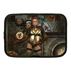 Steampunk, Steampunk Women With Clocks And Gears Netbook Case (medium)