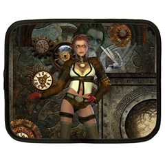 Steampunk, Steampunk Women With Clocks And Gears Netbook Case (large)