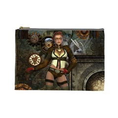 Steampunk, Steampunk Women With Clocks And Gears Cosmetic Bag (large)