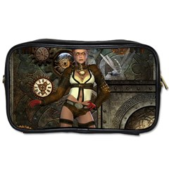Steampunk, Steampunk Women With Clocks And Gears Toiletries Bags 2 Side