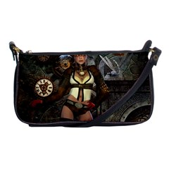 Steampunk, Steampunk Women With Clocks And Gears Shoulder Clutch Bags