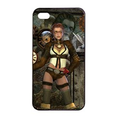 Steampunk, Steampunk Women With Clocks And Gears Apple Iphone 4/4s Seamless Case (black)