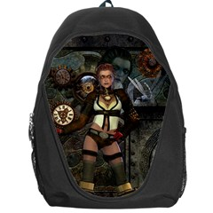 Steampunk, Steampunk Women With Clocks And Gears Backpack Bag