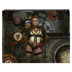 Steampunk, Steampunk Women With Clocks And Gears Cosmetic Bag (xxxl)