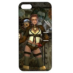 Steampunk, Steampunk Women With Clocks And Gears Apple Iphone 5 Hardshell Case With Stand