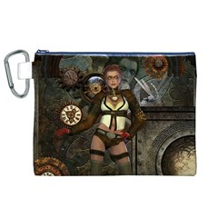 Steampunk, Steampunk Women With Clocks And Gears Canvas Cosmetic Bag (xl)