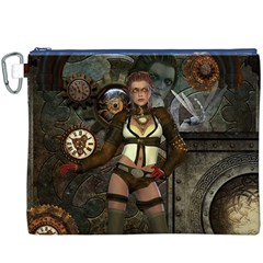 Steampunk, Steampunk Women With Clocks And Gears Canvas Cosmetic Bag (xxxl)