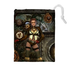 Steampunk, Steampunk Women With Clocks And Gears Drawstring Pouches (extra Large)