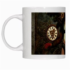 Steampunk, Steampunk Women With Clocks And Gears White Mugs