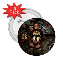Steampunk, Steampunk Women With Clocks And Gears 2 25  Buttons (10 Pack)