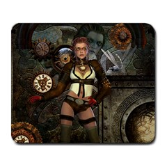 Steampunk, Steampunk Women With Clocks And Gears Large Mousepads