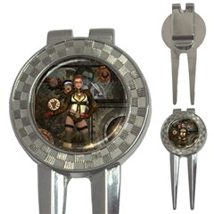 Steampunk, Steampunk Women With Clocks And Gears 3 In 1 Golf Divots