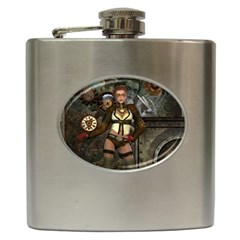 Steampunk, Steampunk Women With Clocks And Gears Hip Flask (6 Oz)