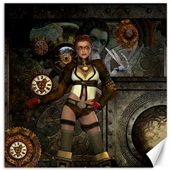 Steampunk, Steampunk Women With Clocks And Gears Canvas 12  X 12