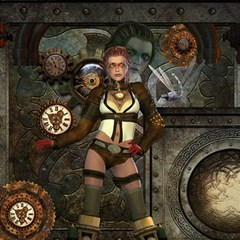 Steampunk, Steampunk Women With Clocks And Gears Magic Photo Cubes