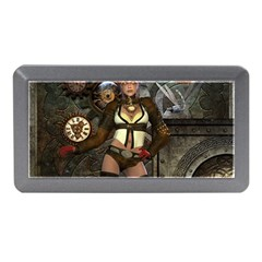Steampunk, Steampunk Women With Clocks And Gears Memory Card Reader (mini)
