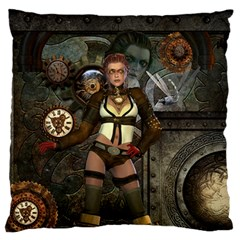 Steampunk, Steampunk Women With Clocks And Gears Large Flano Cushion Case (two Sides)