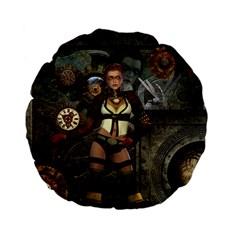 Steampunk, Steampunk Women With Clocks And Gears Standard 15  Premium Flano Round Cushions