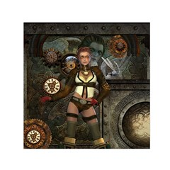 Steampunk, Steampunk Women With Clocks And Gears Small Satin Scarf (square)