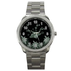 Surfboard With Dolphin, Flowers, Palm And Turtle Sport Metal Watch
