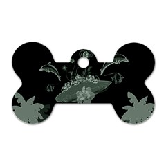 Surfboard With Dolphin, Flowers, Palm And Turtle Dog Tag Bone (one Side)