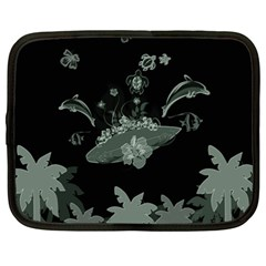 Surfboard With Dolphin, Flowers, Palm And Turtle Netbook Case (xxl)