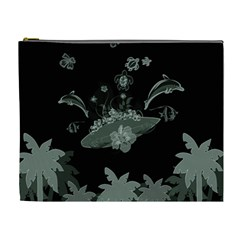 Surfboard With Dolphin, Flowers, Palm And Turtle Cosmetic Bag (xl)