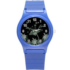 Surfboard With Dolphin, Flowers, Palm And Turtle Round Plastic Sport Watch (s)