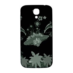 Surfboard With Dolphin, Flowers, Palm And Turtle Samsung Galaxy S4 I9500/i9505  Hardshell Back Case