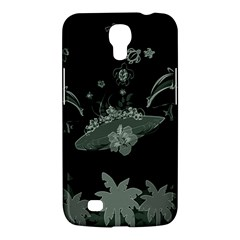 Surfboard With Dolphin, Flowers, Palm And Turtle Samsung Galaxy Mega 6 3  I9200 Hardshell Case