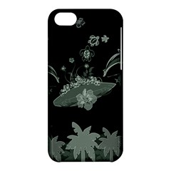Surfboard With Dolphin, Flowers, Palm And Turtle Apple Iphone 5c Hardshell Case