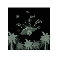Surfboard With Dolphin, Flowers, Palm And Turtle Small Satin Scarf (square)
