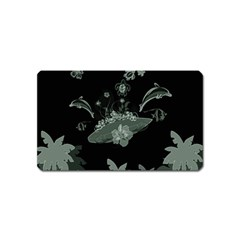 Surfboard With Dolphin, Flowers, Palm And Turtle Magnet (name Card)