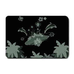 Surfboard With Dolphin, Flowers, Palm And Turtle Small Doormat
