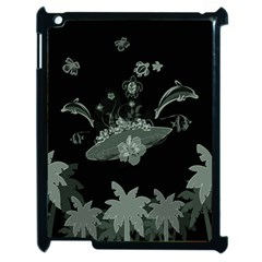 Surfboard With Dolphin, Flowers, Palm And Turtle Apple Ipad 2 Case (black)