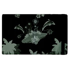 Surfboard With Dolphin, Flowers, Palm And Turtle Apple Ipad 3/4 Flip Case