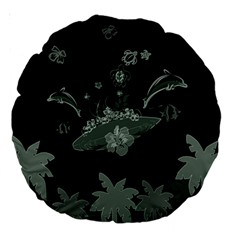 Surfboard With Dolphin, Flowers, Palm And Turtle Large 18  Premium Round Cushions