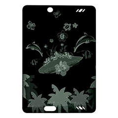 Surfboard With Dolphin, Flowers, Palm And Turtle Amazon Kindle Fire Hd (2013) Hardshell Case