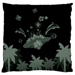 Surfboard With Dolphin, Flowers, Palm And Turtle Standard Flano Cushion Case (one Side)