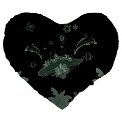 Surfboard With Dolphin, Flowers, Palm And Turtle Large 19  Premium Flano Heart Shape Cushions