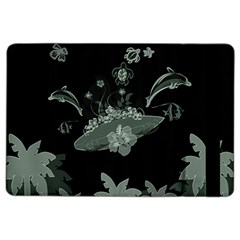 Surfboard With Dolphin, Flowers, Palm And Turtle Ipad Air 2 Flip
